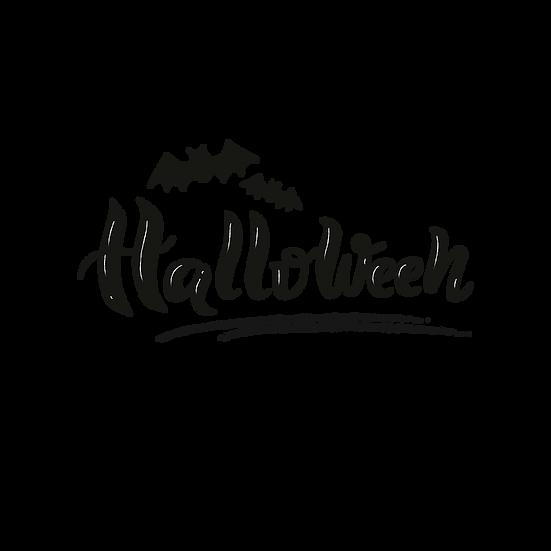 Happy Halloween Black Silhouette Printables PNG Image  - Editable / Downloadable