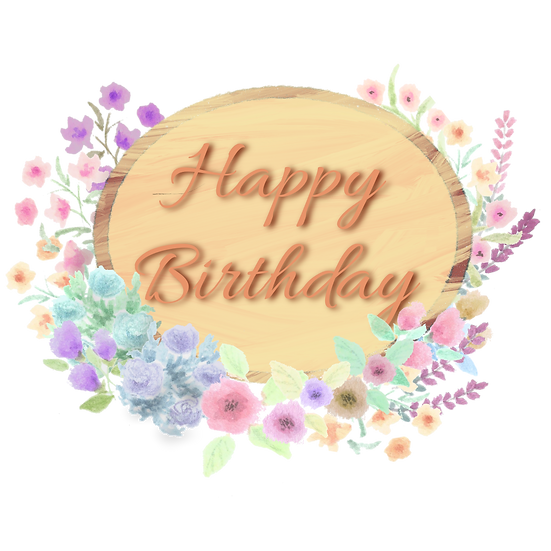 Happy Birthday Floral Design PNG Transparent Image - Digital Instant Download