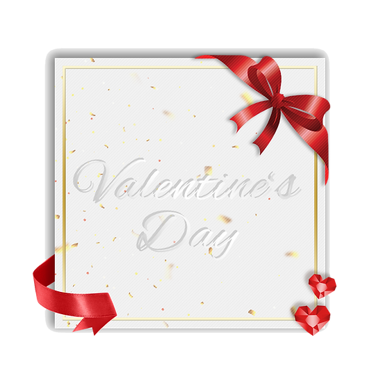 Valentine's Day Greeting Card with Red Bow Transparent Image - Instant Download