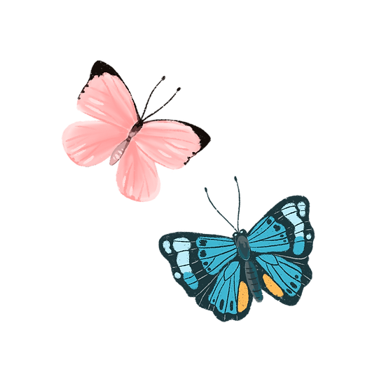 Blue and Pink Butterflies - Free PNG Images, Transparent Image Digital Download