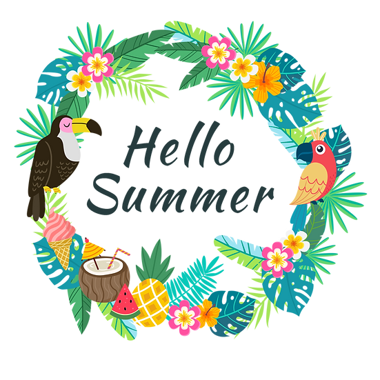 Hello Summer Tropical Wreath - Free PNG Transparent Images, Digital Download