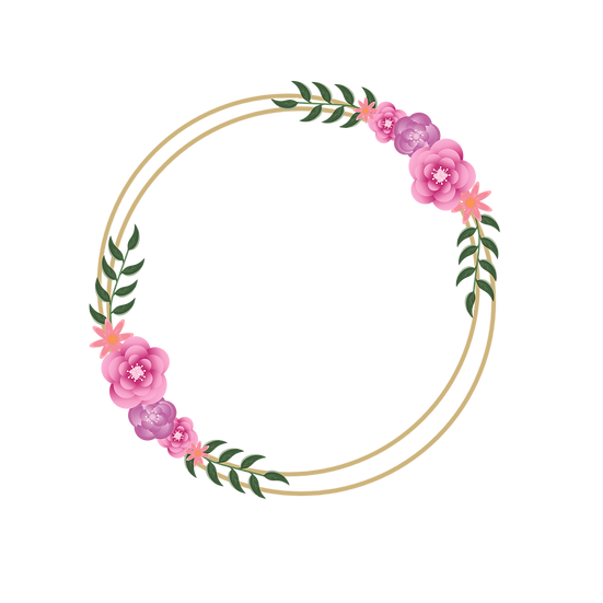 Golden Circle with Flowers - Free PNG Images, Transparent Image Digital Download