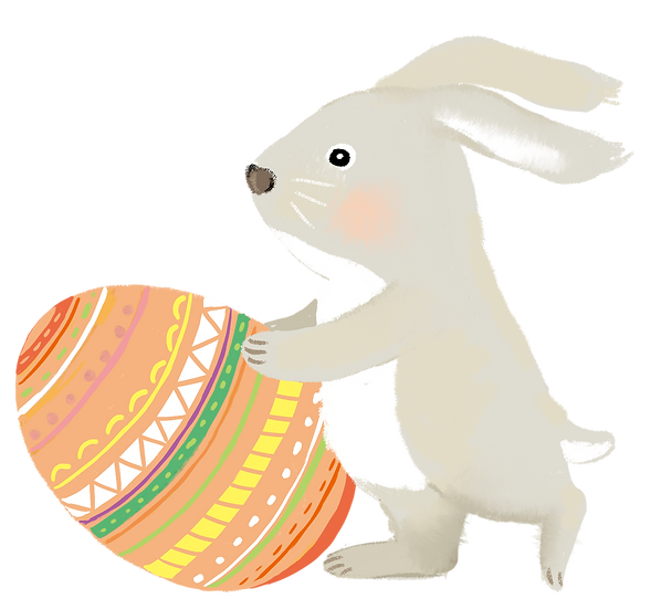 Easter Rabbit with Easter Egg - PNG Transparent Image - Instant Download