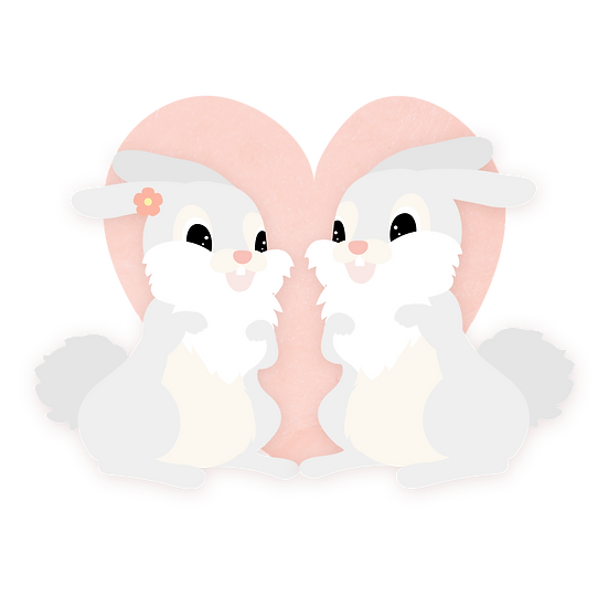 Rabbits Love - Free PNG Heart Images, Transparent Image Instant Download