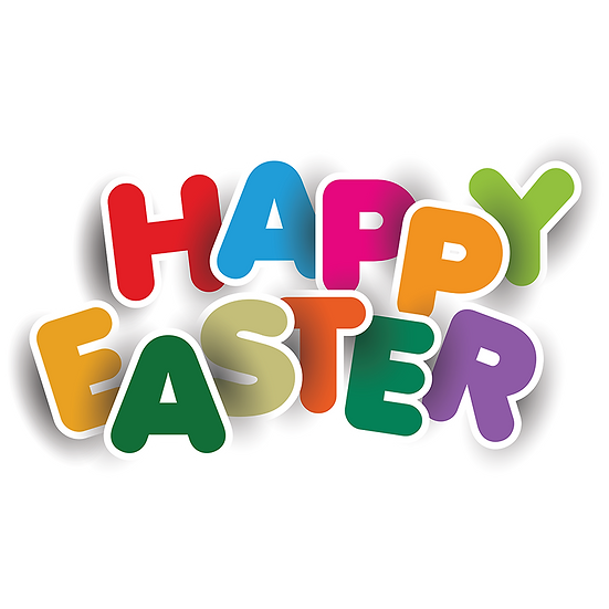 Happy Easter Bright-Colored Inscription - Transparent Image - Instant Download