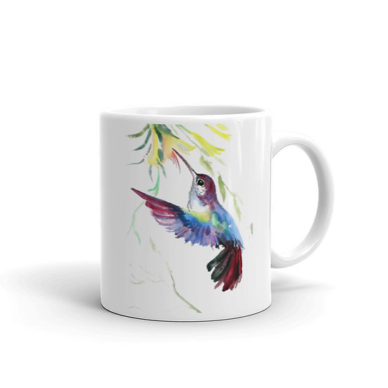 Watercolor Colibri Coffee Cup Mug for Coffee / Tea White Ceramic Mugs 11/15 oz1