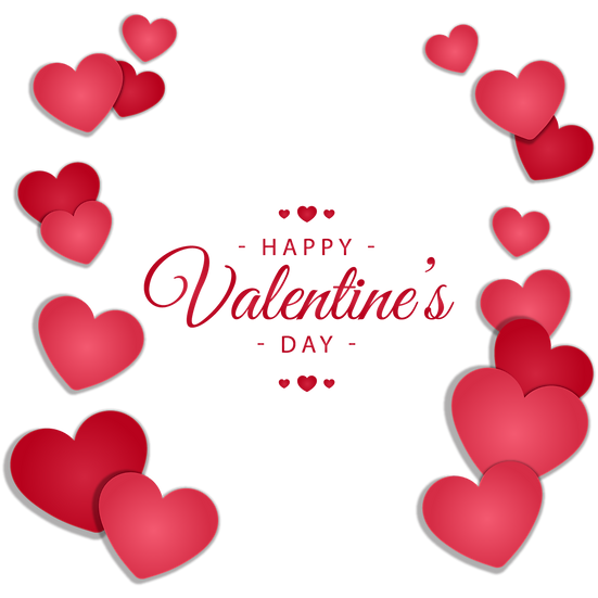 Happy Valentine's Day Greeting Card with Hearts PNG Image - Instant Download