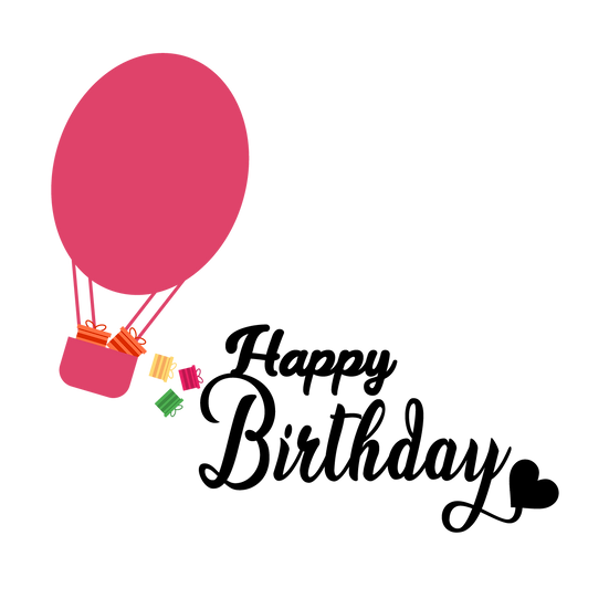 Birthday Clipart with Air Balloon Full of Gifts - PNG Image - Digital Download