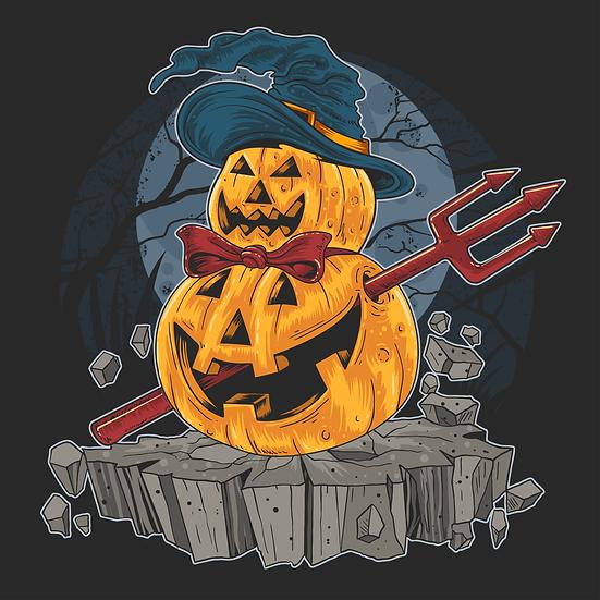 Halloween Snowman Pumpkin Printables PNG Image  - Editable / Downloadable