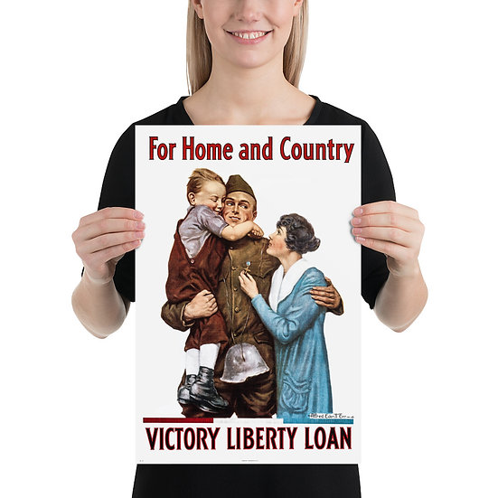"""WW1 US Propaganda Poster """"For Home and Country Victory Liberty Loan"""""""
