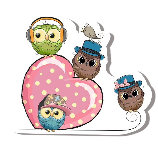 Pink Heart with Owls - Free PNG Images, Transparent Image Digital Download