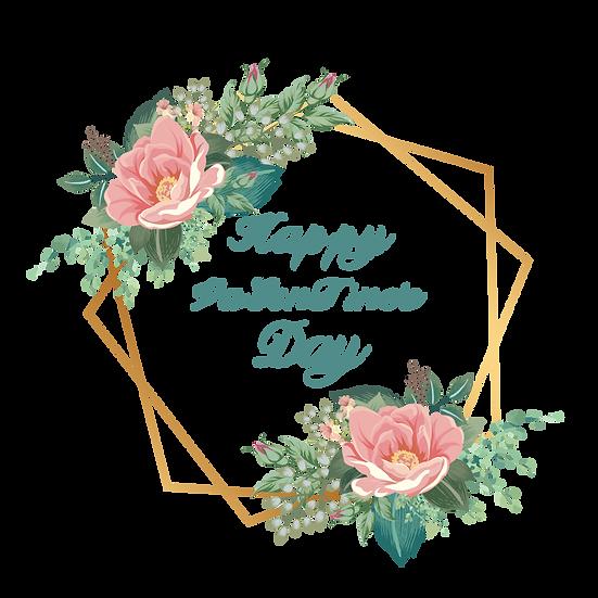 Floral Valentine's Day Greeting Card - PNG Transparent Image - Instant Download