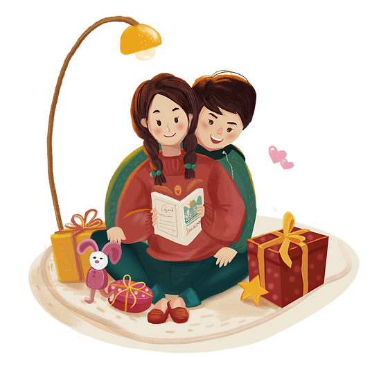 Couple Reading a Book - Valentine's Day PNG Transparent Image - Instant Download