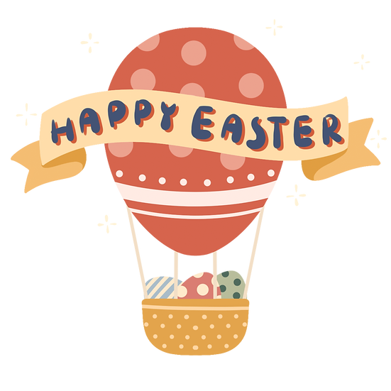 Happy Easter Balloon Clipart - Easter PNG Transparent Image - Instant Download