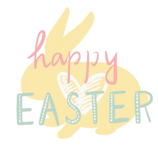 Happy Easter Cute Clipart - PNG Transparent Image - Instant Download