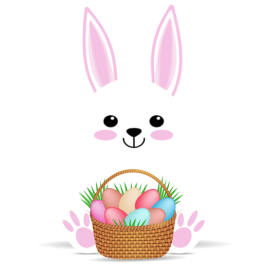 Cute Bunny with Easter Basket Clipart – PNG Transparent Image - Instant Download