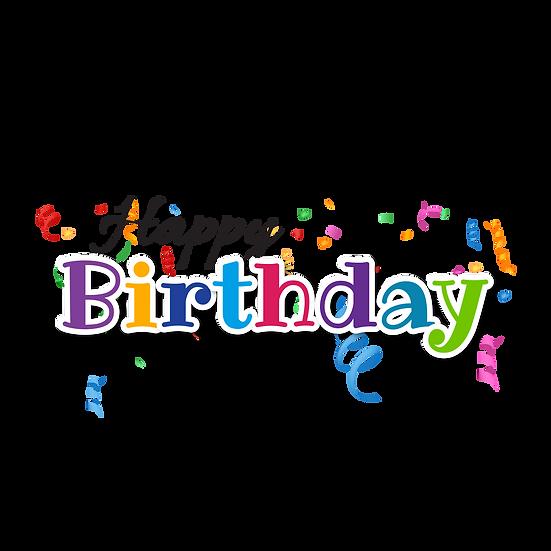 Happy Birthday Varicoloured Inscription - Transparent Image - Digital Download