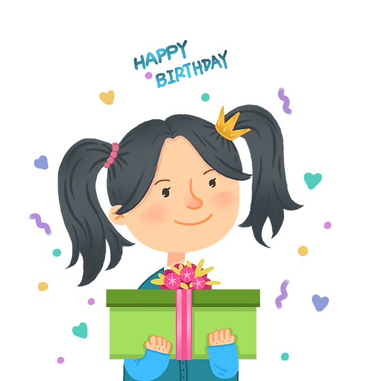 Cute Girl with Birthday Gift Clipart - PNG Transparent Image - Digital Download