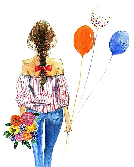 Watercolor Girl with Balloons Free PNG Images - Free Digital Image Download