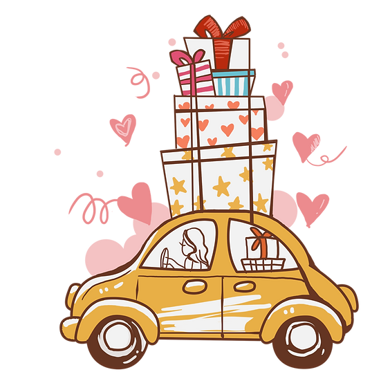 Car with Gifts Clipart - Free PNG Images, Transparent Image Digital Download
