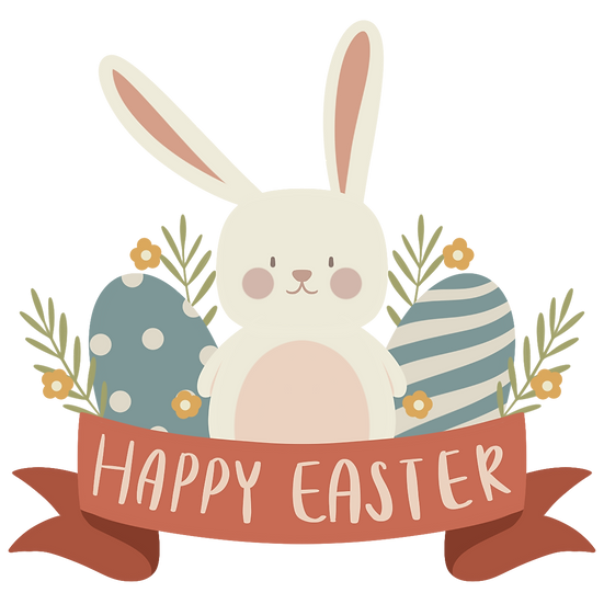 Easter Clipart with Rabbit and Easter Eggs - PNG Image - Instant Download