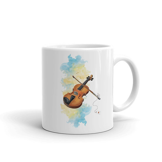 Watercolor Violin Coffee Cup Mug for Coffee / Tea White Ceramic Mugs 11/15 oz1