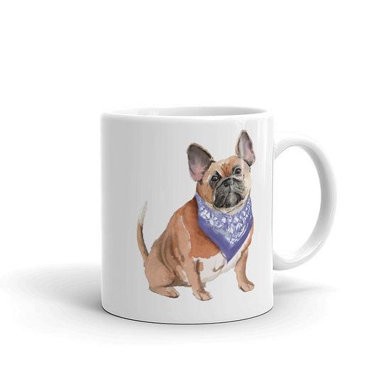 Watercolor BullDog Coffee Cup Mug for Coffee / Tea White Ceramic Mugs 11/15 oz1