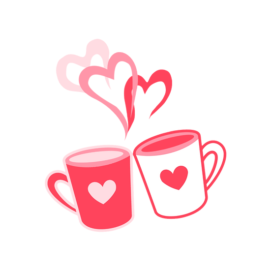 Let's Have Coffee Together Clipart - Valentine's Day PNG Image, Instant Download