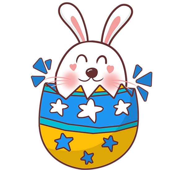 Cheerful Bunny in the Easter Egg - PNG Transparent Image - Instant Download