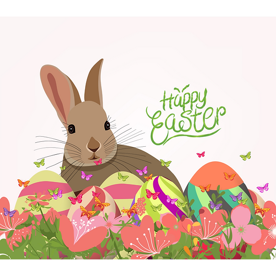 Happy Easter Greeting Card with Rabbit - Transparent Image - Instant Download