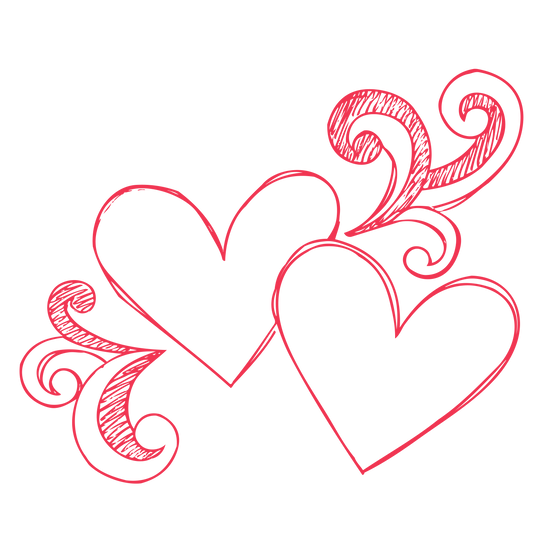 Two Hearts - Beautiful Clipart - Valentine's Day PNG Image - Instant Download