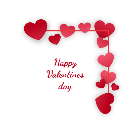 Happy Valentines Day Greeting Card with Hearts PNG Image - Instant Download