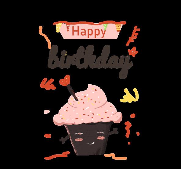 Cute Birthday Cupcake - PNG Transparent Image - Digital Download
