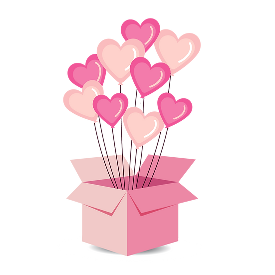 Heart Balloons in the Box - Free PNG Images, Transparent Image Instant Download