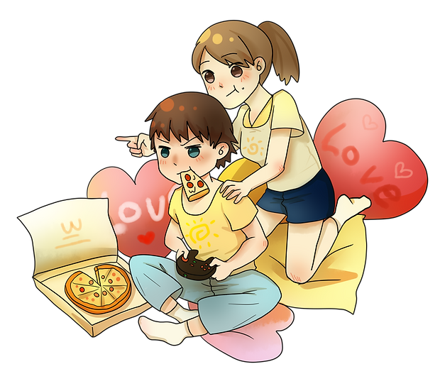 Couple Playing the Video Games - Valentine's Day PNG Image - Instant Download