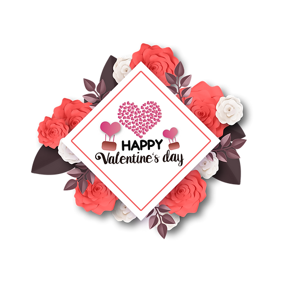 Valentine's Day Rhombus Greeting Card PNG Transparent Image - Instant Download