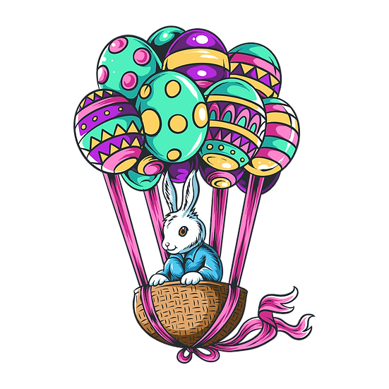 Bunny in Easter Eggs Hot Air Balloon - PNG Transparent Image - Instant Download