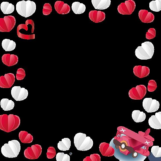 Hearts Frame - Valentine's Day PNG Transparent Image - Instant Download