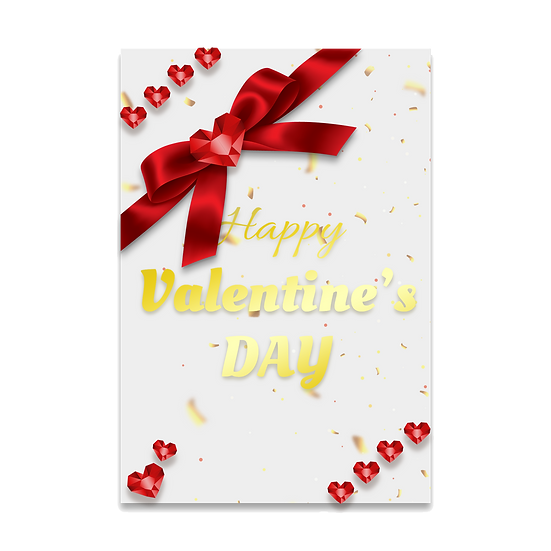 Valentine's Day Gold Inscription Greeting Card PNG Image - Instant Download