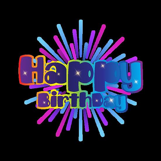 Happy Birthday Vivid Inscription - PNG Transparent Image - Digital Download