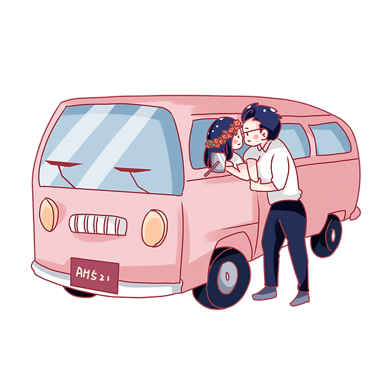 Sweet Couple and Car - Valentine's Day PNG Transparent Image - Instant Download
