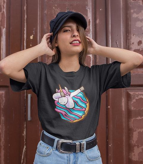 Dabbing Donut Unicorn Design Short-Sleeve Women's T-Shirt