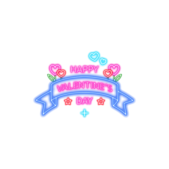Happy Valentine's Day Neon Clipart - PNG Transparent Image - Instant Download