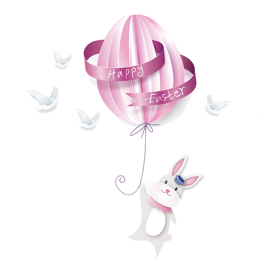 Easter Bunny with Balloon Clipart - PNG Transparent Image - Instant Download