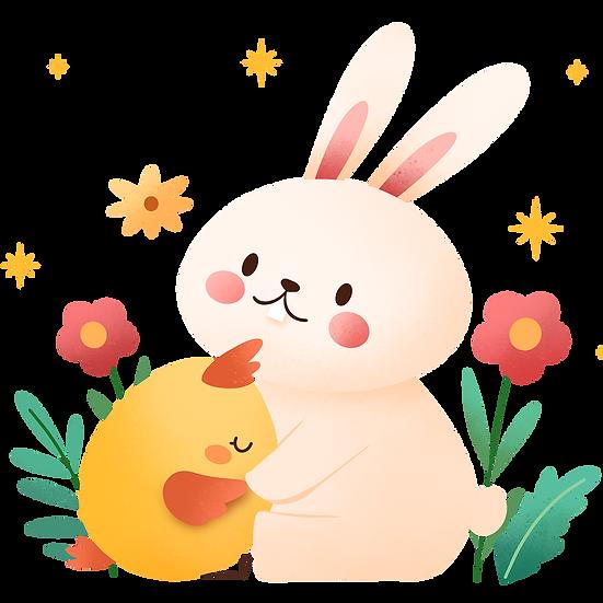 Easter Bunny Hugging Chick Clipart - PNG Transparent Image - Instant Download