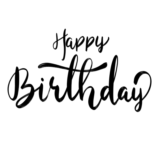 Happy Birthday Black Inscription - PNG Transparent Image - Digital Download