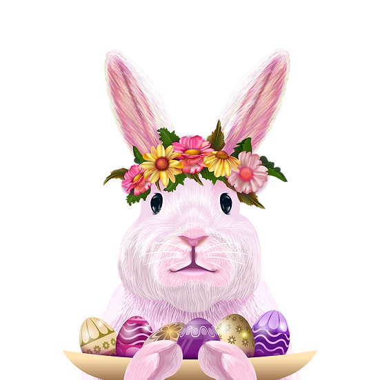 Cute Bunny with Plate with Easter Eggs - Transparent Image - Instant Download
