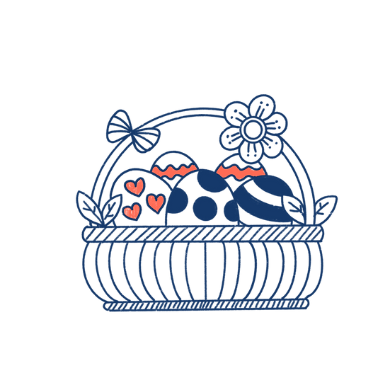 Beautiful Easter Basket with Eggs Clipart - Transparent Image - Instant Download