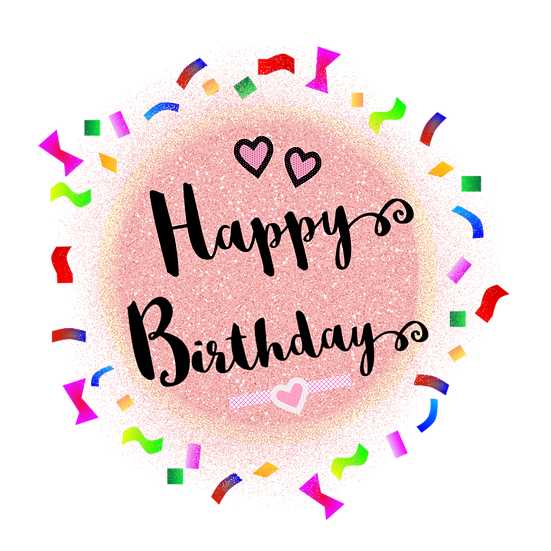 Happy Birthday Party Inscription PNG Transparent Image, Digital Instant Download