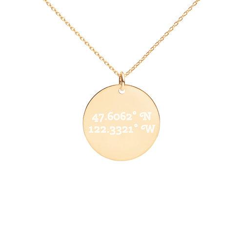 Coordinates: Seattle Engraved Disc Necklace